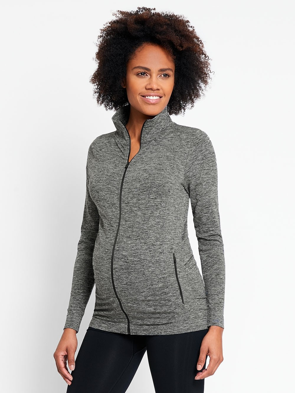 Marl Grey Active Zip-Up Maternity Jacket