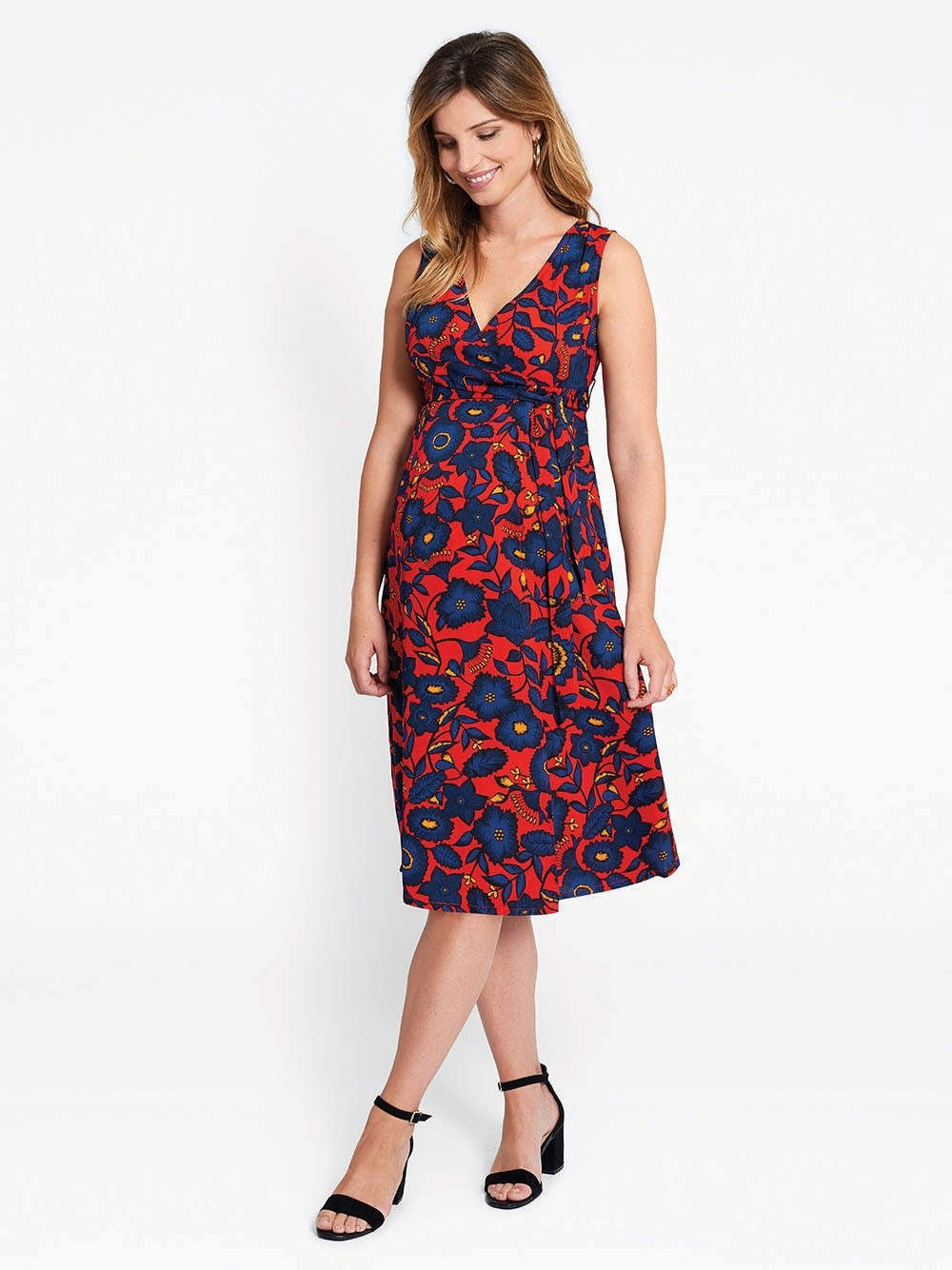 Red Floral Maternity Wrap Dress