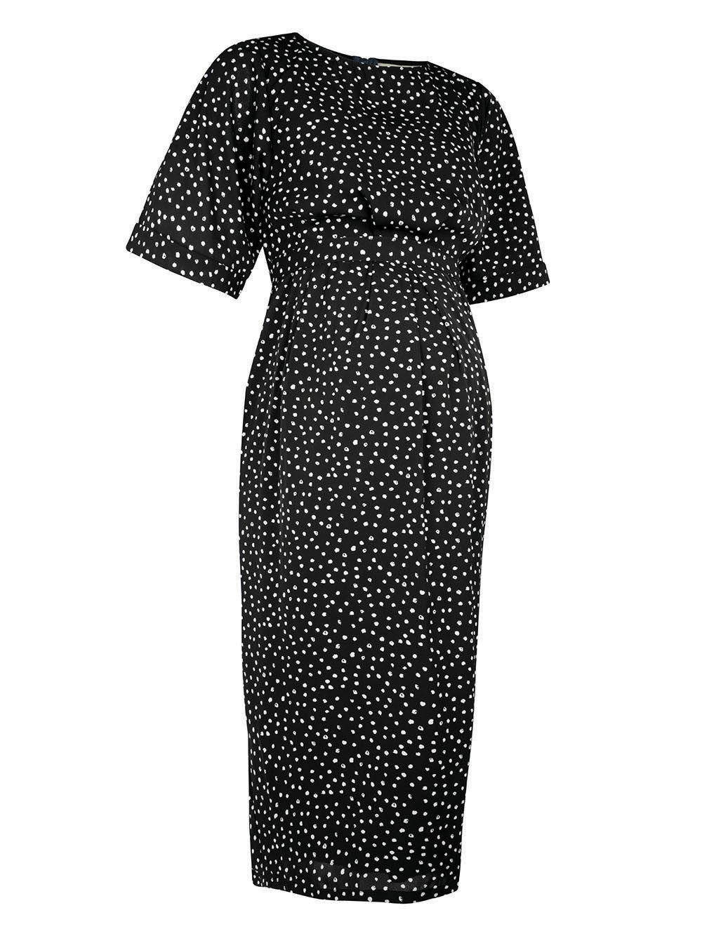Black Spot Print Pleated Maternity & Nursing Dress