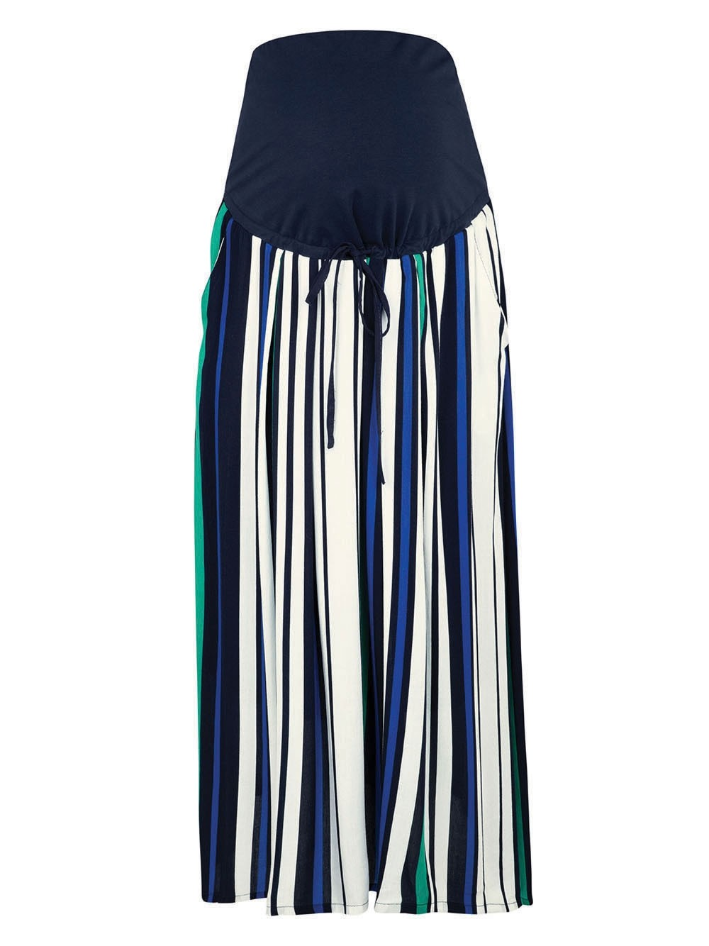 Navy Stripe Maternity Midi Skirt