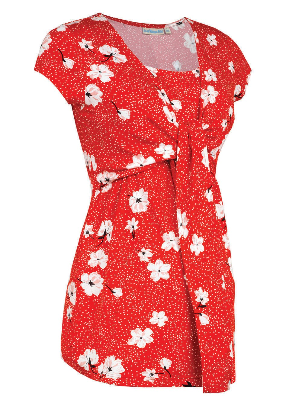 Red Floral Maternity & Nursing Tie Front Top