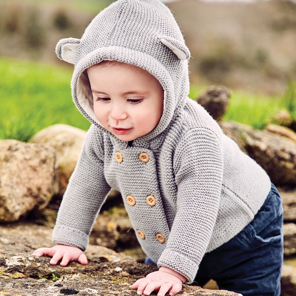 Marl Grey Bear Hooded Cardigan