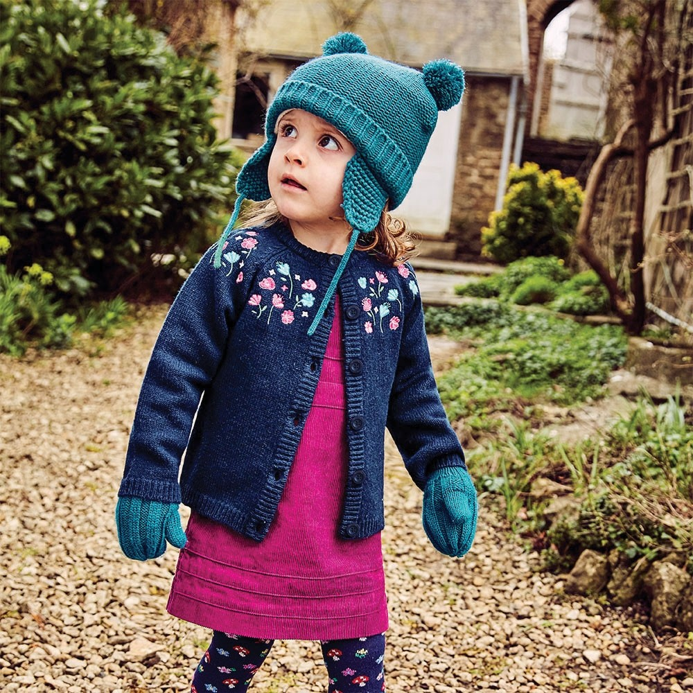 Girls' Navy Pretty Embroidered Cardigan