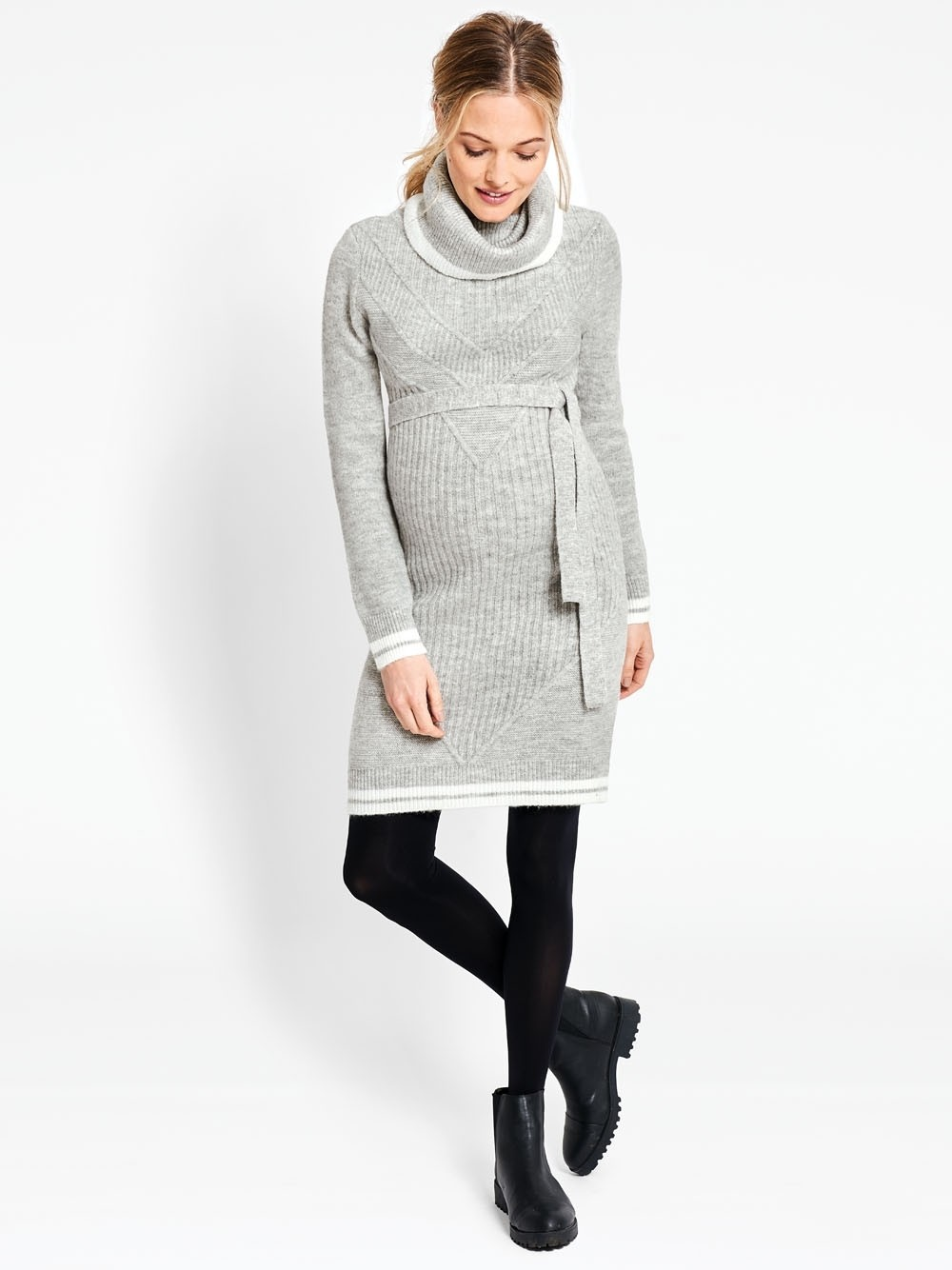 Marl Grey Roll Neck Maternity Jumper Dress