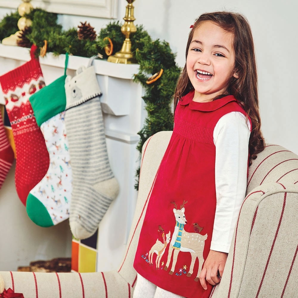 Girls' Red Cord Reindeer Dress | Shop Now