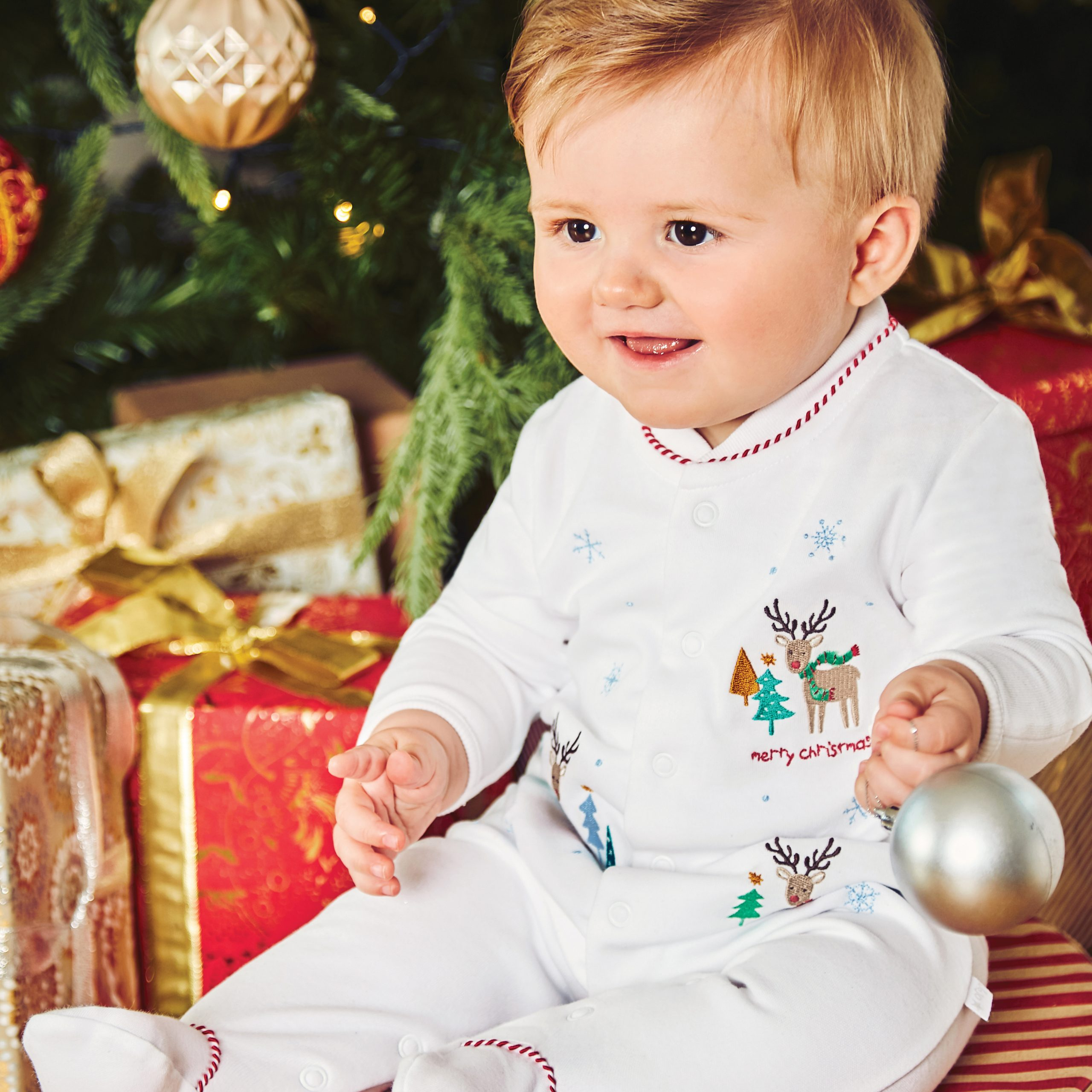 White Reindeer Embroidered Sleepsuit | Shop Now