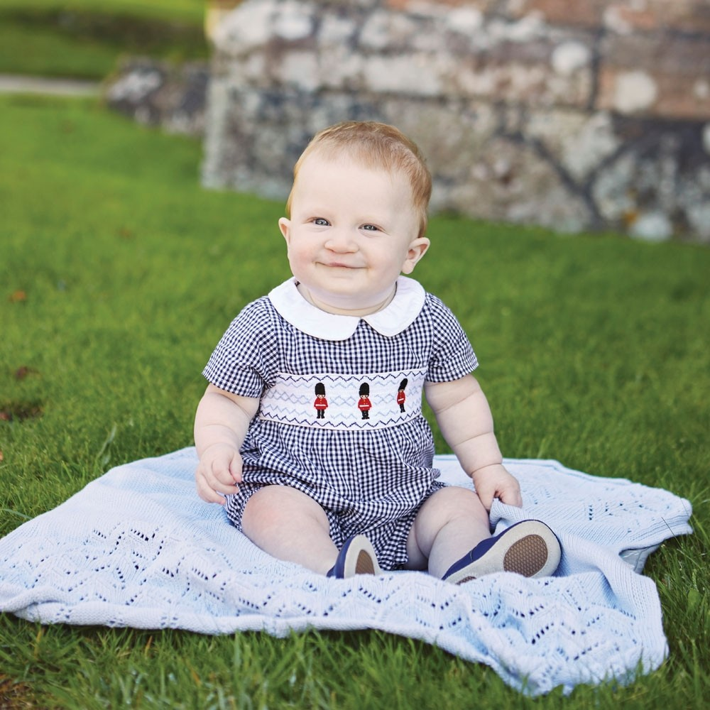 Soldier Embroidered Check Baby Romper