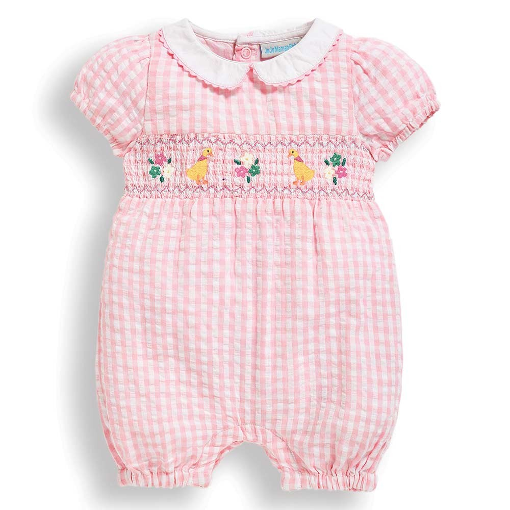 Pretty Embroidered Duck Baby Romper