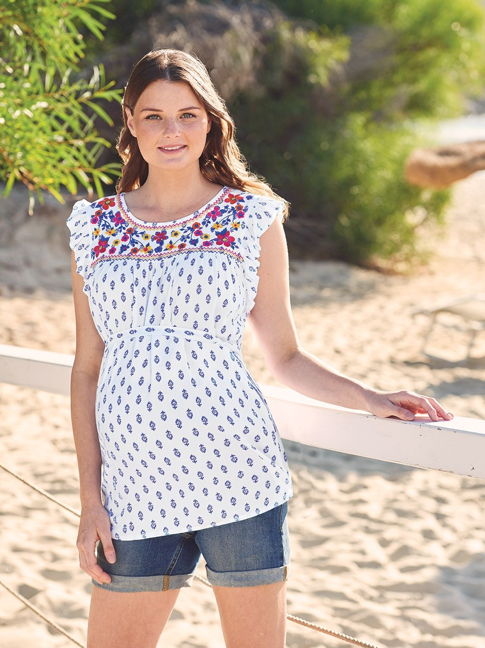 Printed Embroidery Maternity Top