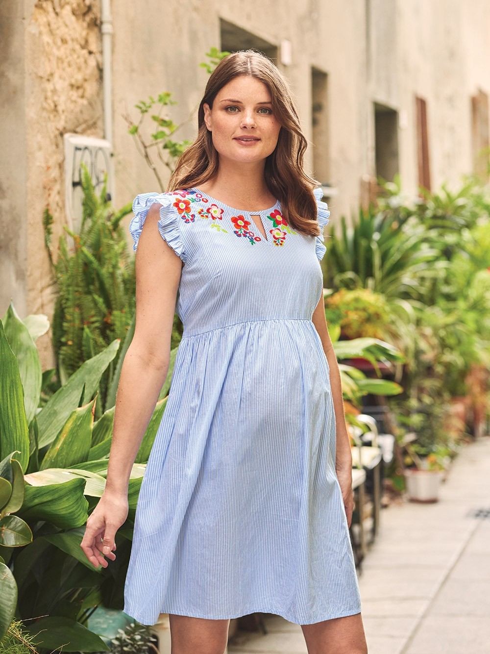 Ticking Stripe Embroidered Maternity Dress