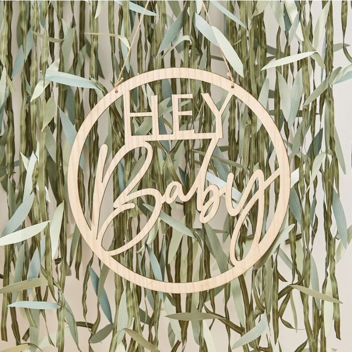 Wooden 'Hey Baby' Baby Shower Sign