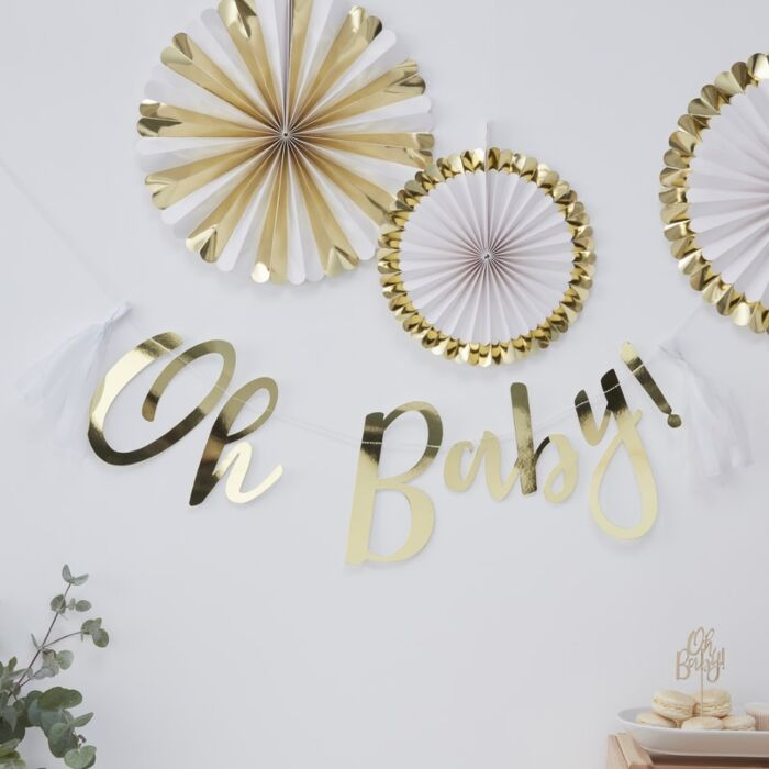 Gold 'Oh Baby' Baby Shower Bunting
