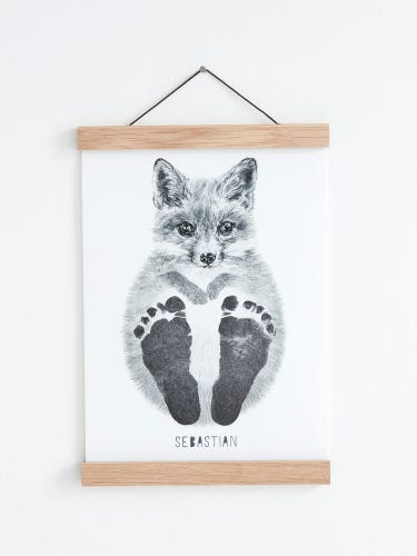 Lucy Coggle Personalised Baby Fox Footprint Kit