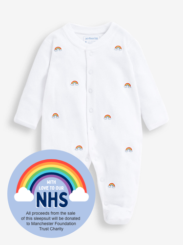 Rainbow Embroidered Baby Sleepsuit