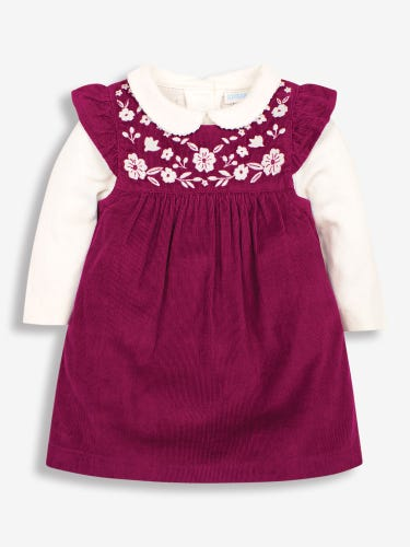 2-Piece Berry Embroidered Cord Baby Dress & Bodysuit Set
