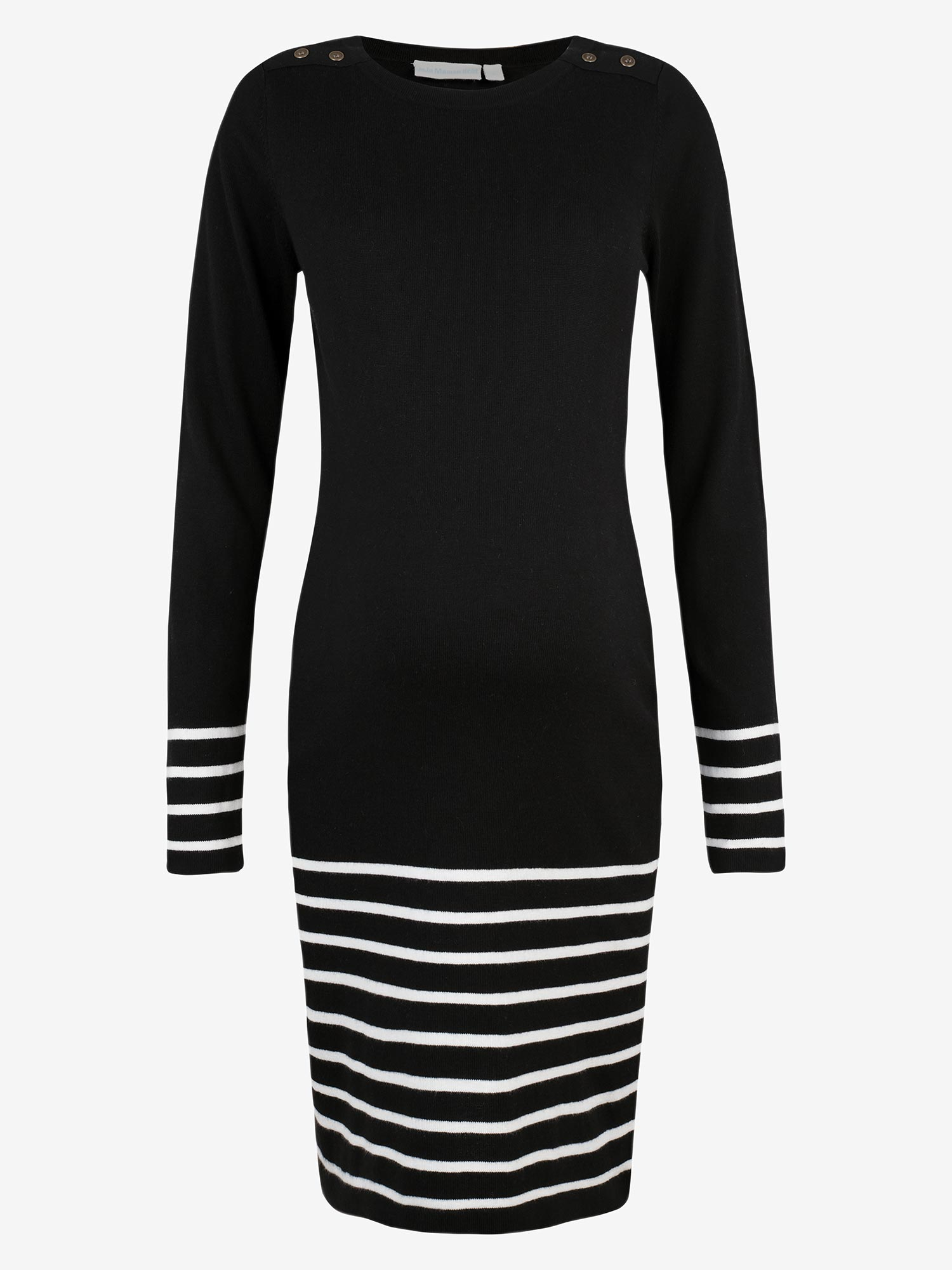 Black Stripe Knitted Maternity Dress