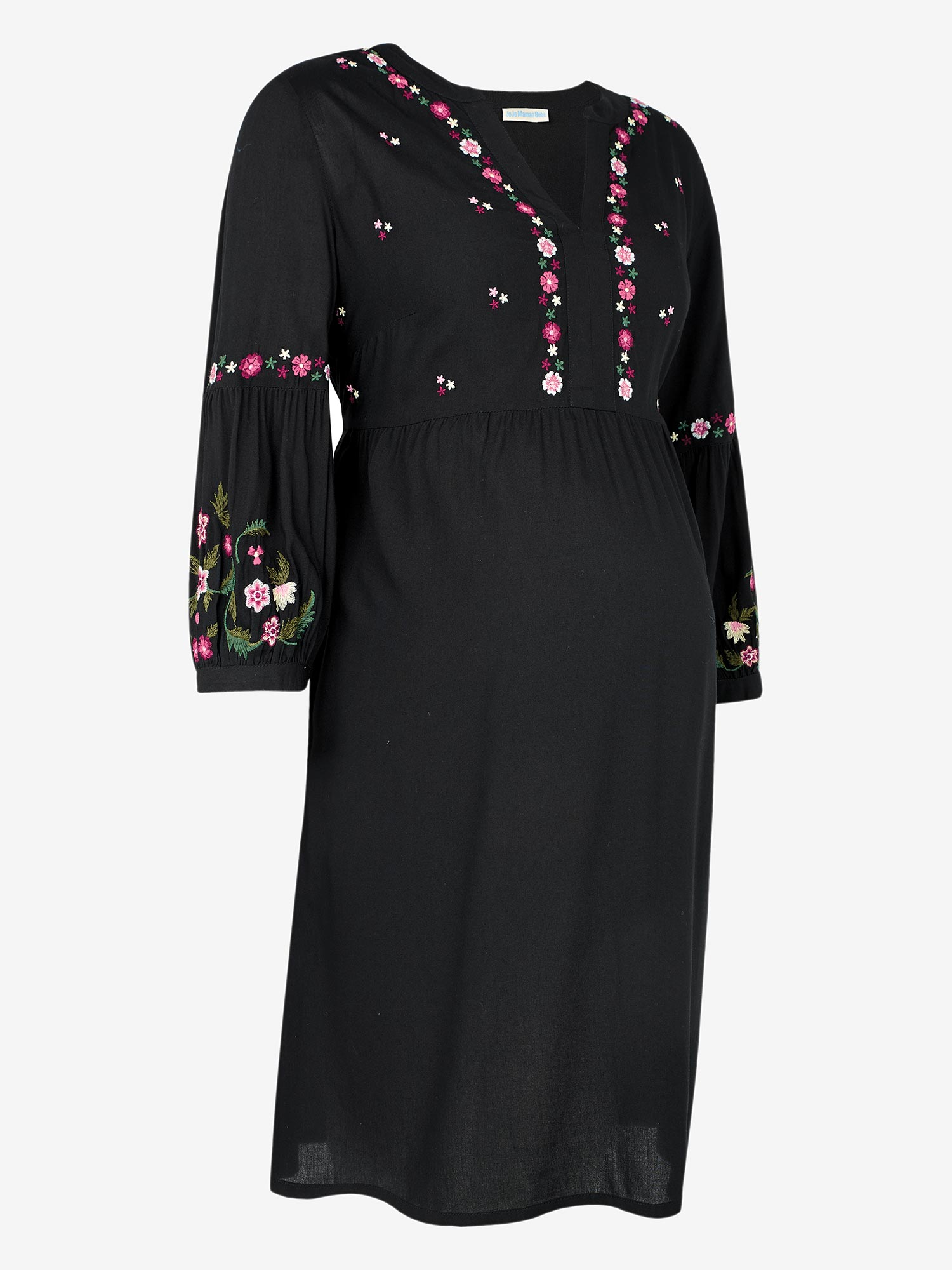 Black Embroidered Maternity Dress