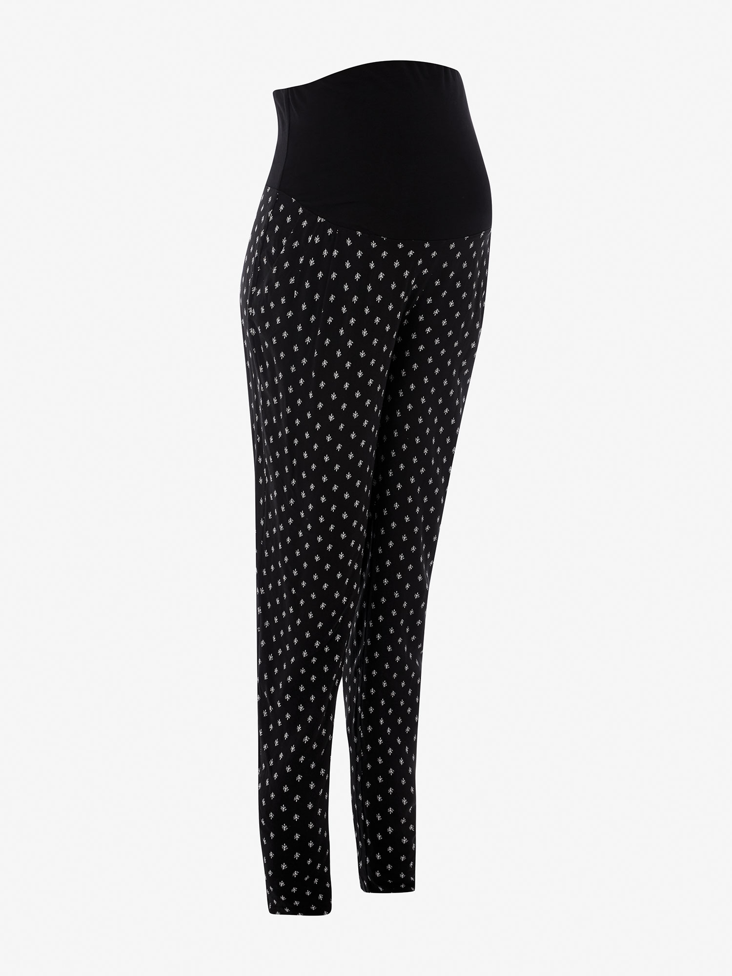 Black Printed Maternity Trousers