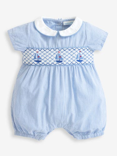 Boat Embroidered Nautical Baby Romper