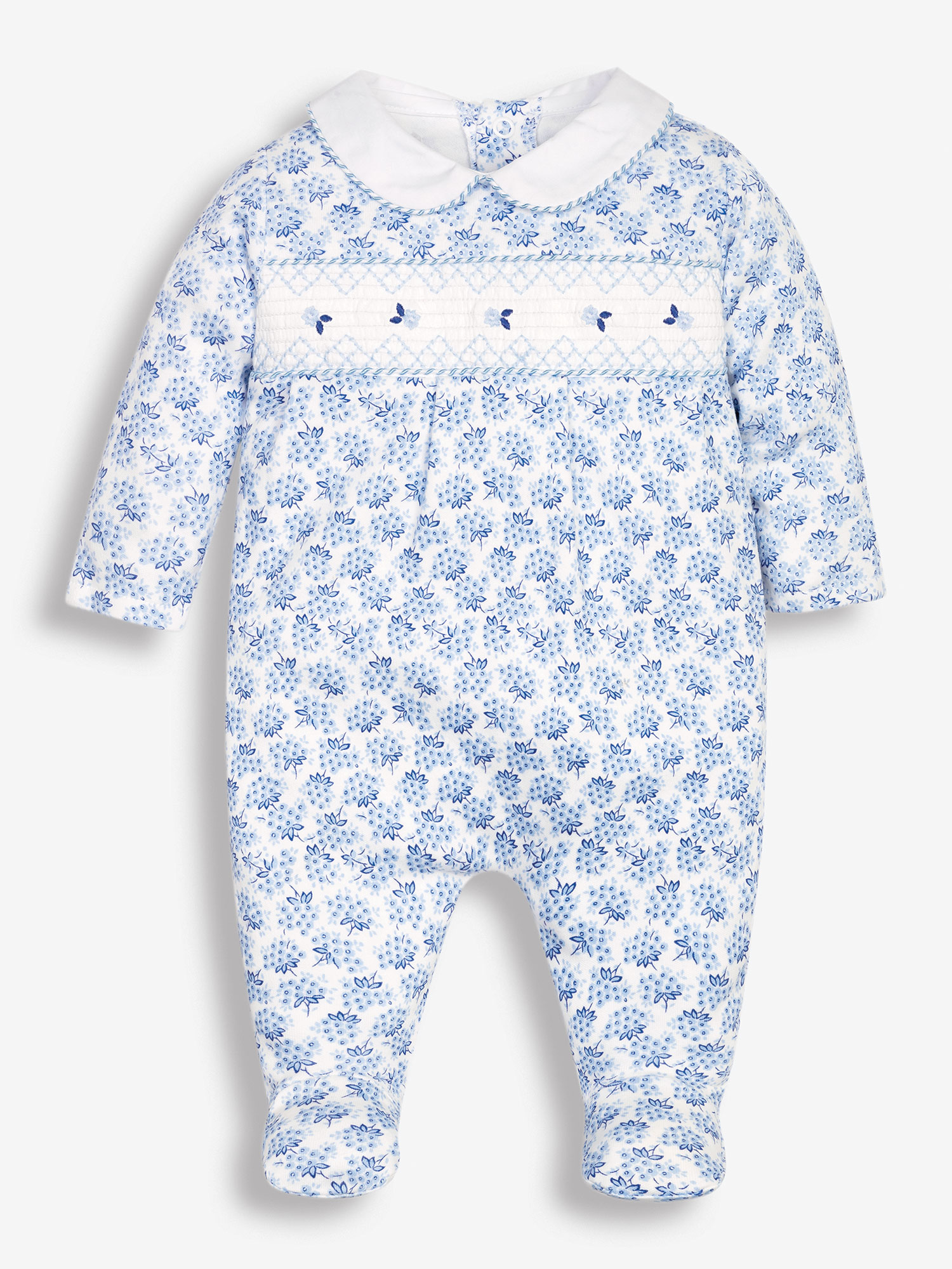 Blue Pretty Smocked Baby Sleepsuit
