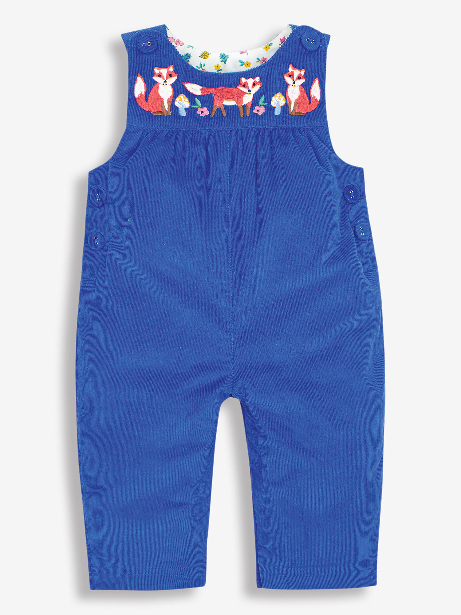 Blue Fox Embroidered Baby Dungarees