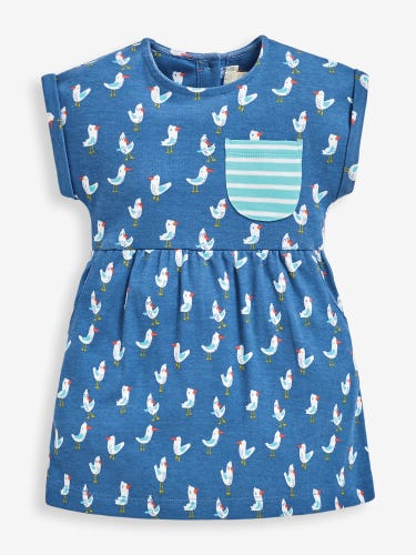 Girls' Seagull Print Jersey Dress with Pockets