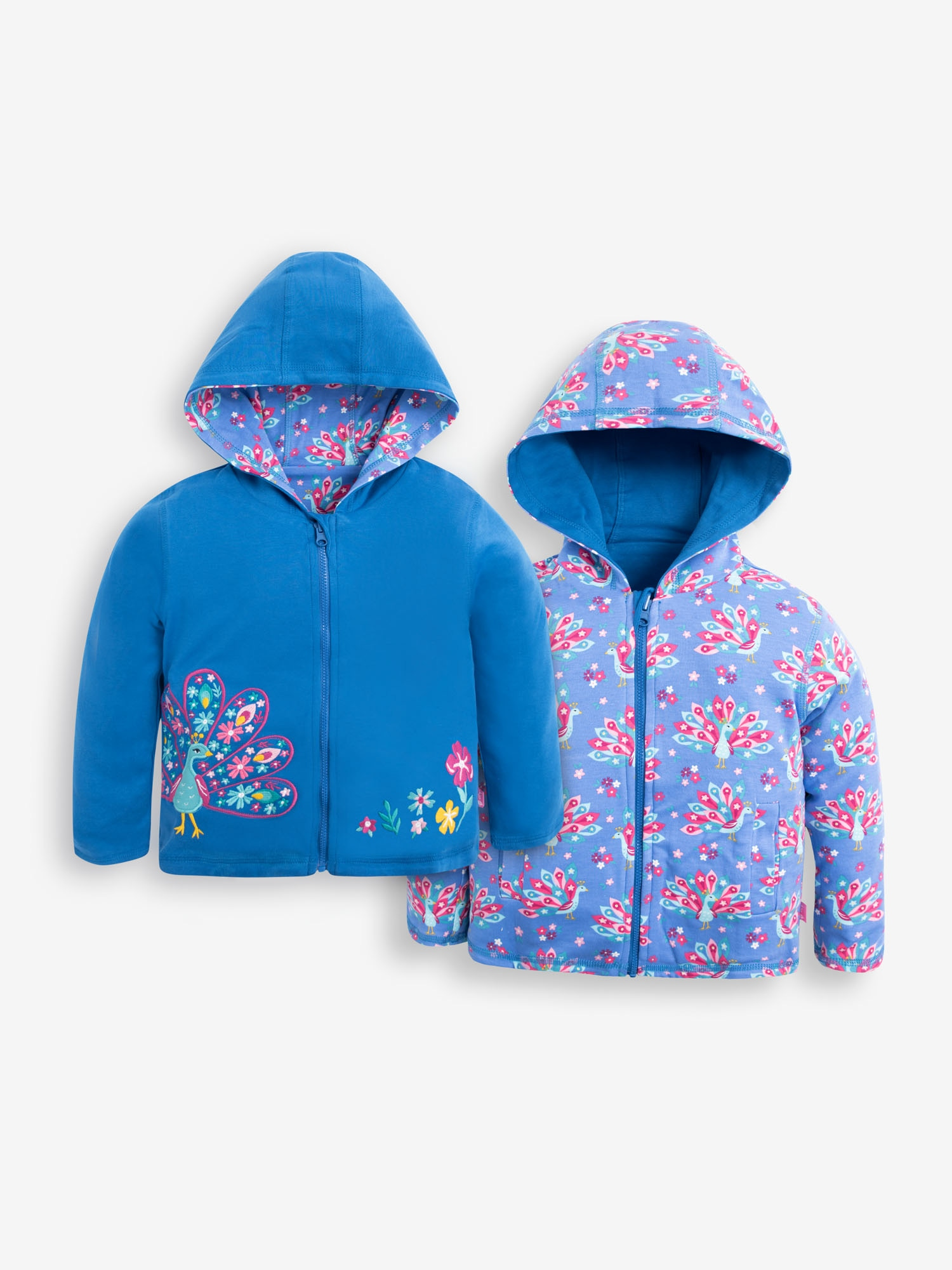 Girls' Blue Peacock Reversible Hoodie