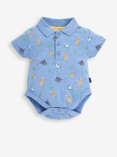 Blue Safari Animals Print Polo Shirt Baby Bodysuit