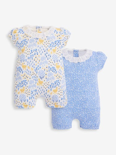 2-Pack Floral & Duck Print Rompers