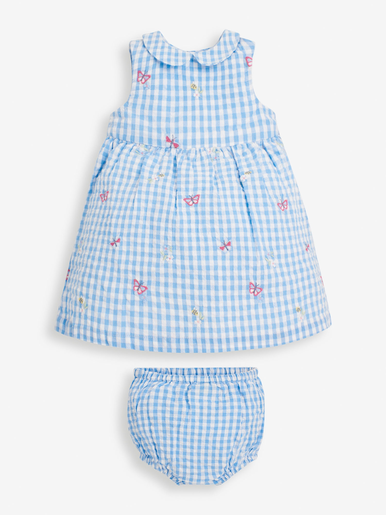 Baby Blue Embroidered Gingham Dress Set