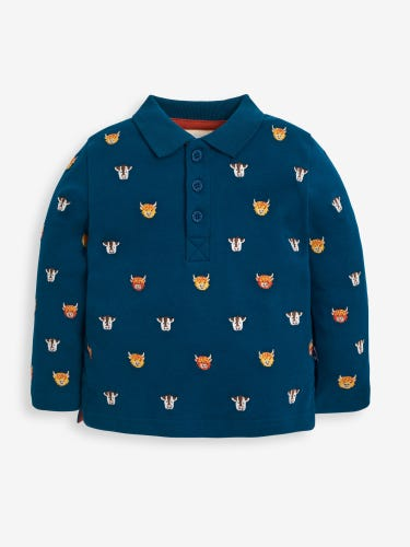 Blue Highland Cow Embroidered Polo Shirt