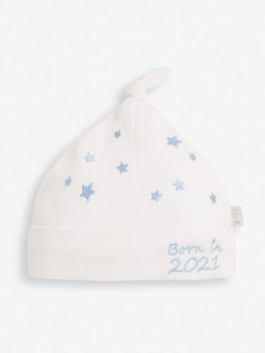 Blue Star Embroidered Born in 2021 Baby Hat