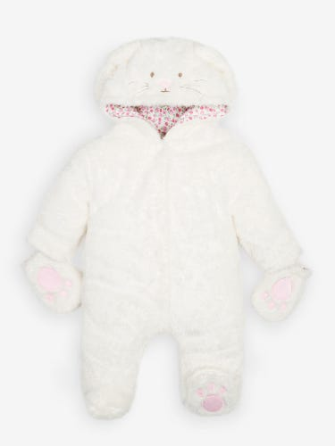 Cream Bunny Fleece Pramsuit
