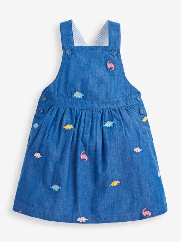 Girls' Chambray Embroidered Dino Pinafore Dress