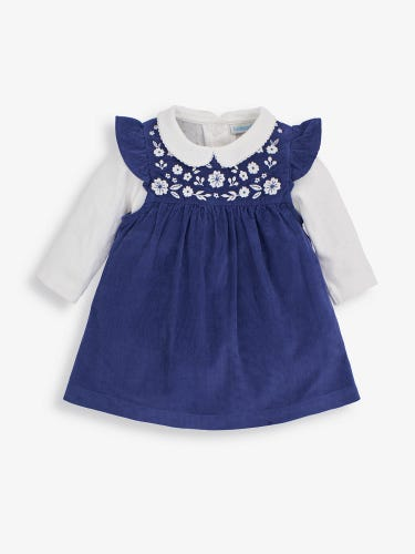 2-Piece Embroidered Cord Baby Dress Set