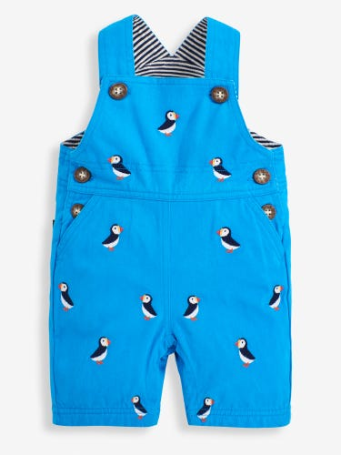 Cobalt Puffin Embroidered Baby Dungarees