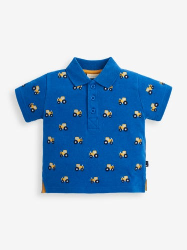 Cobalt Tractor Embroidered Polo Shirt