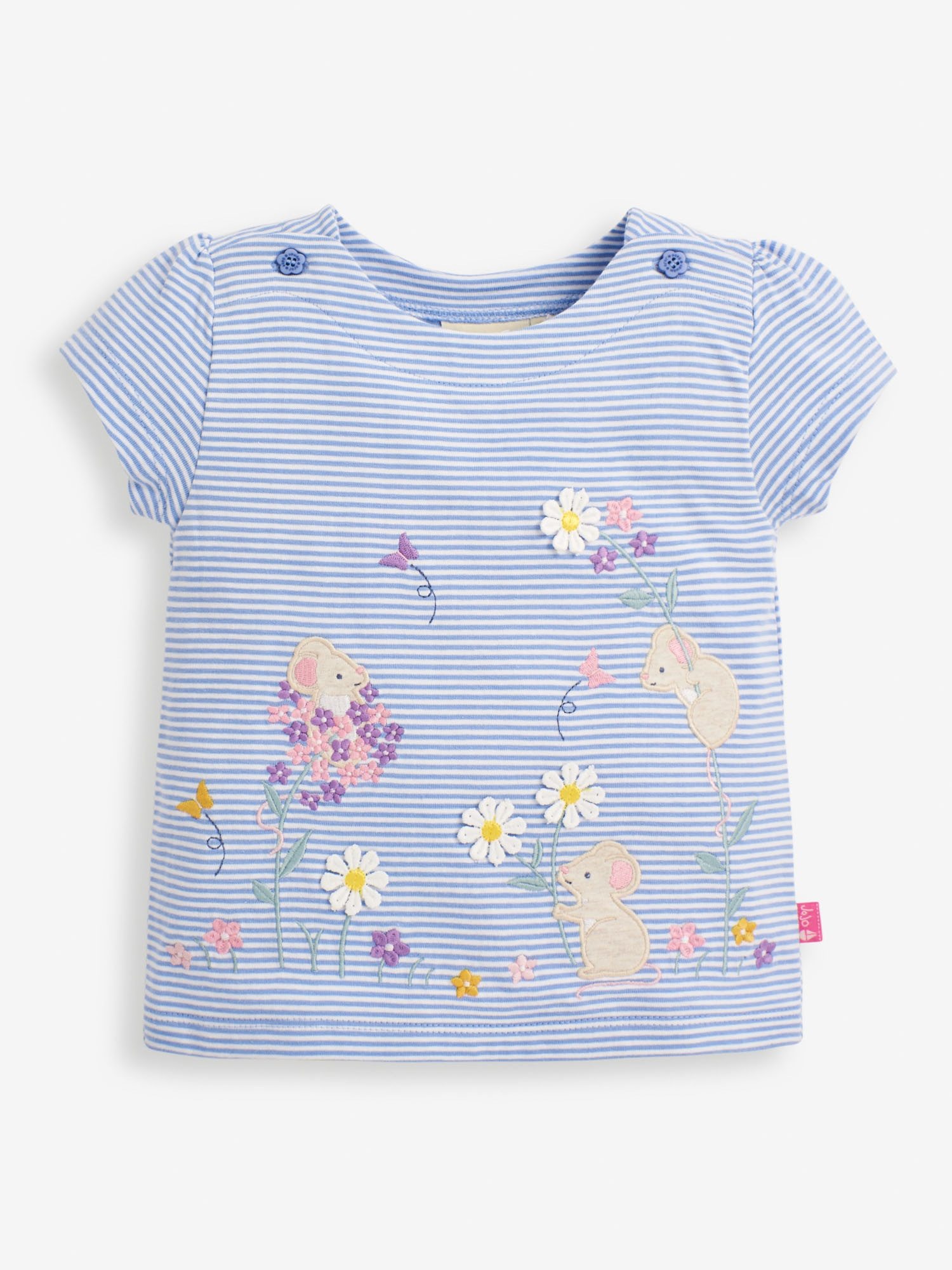 Girls' Cornflower Mouse Applique T-Shirt
