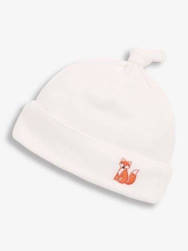 Cream Embroidered Fox Baby Hat