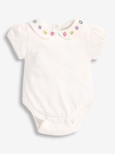 Floral Embroidered Collar Baby Peter Pan Bodysuit