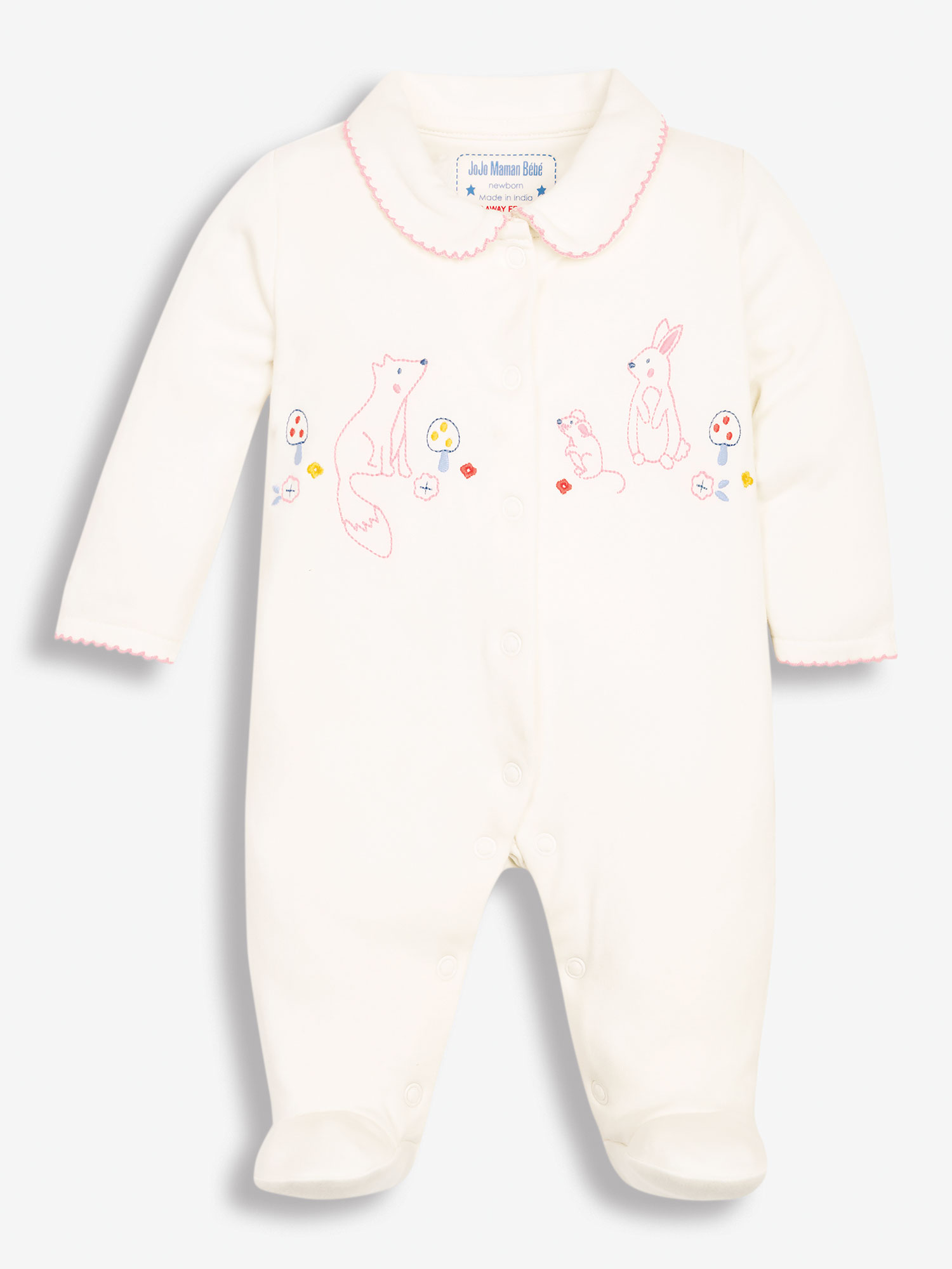 Pretty Woodland Embroidered Baby Sleepsuit