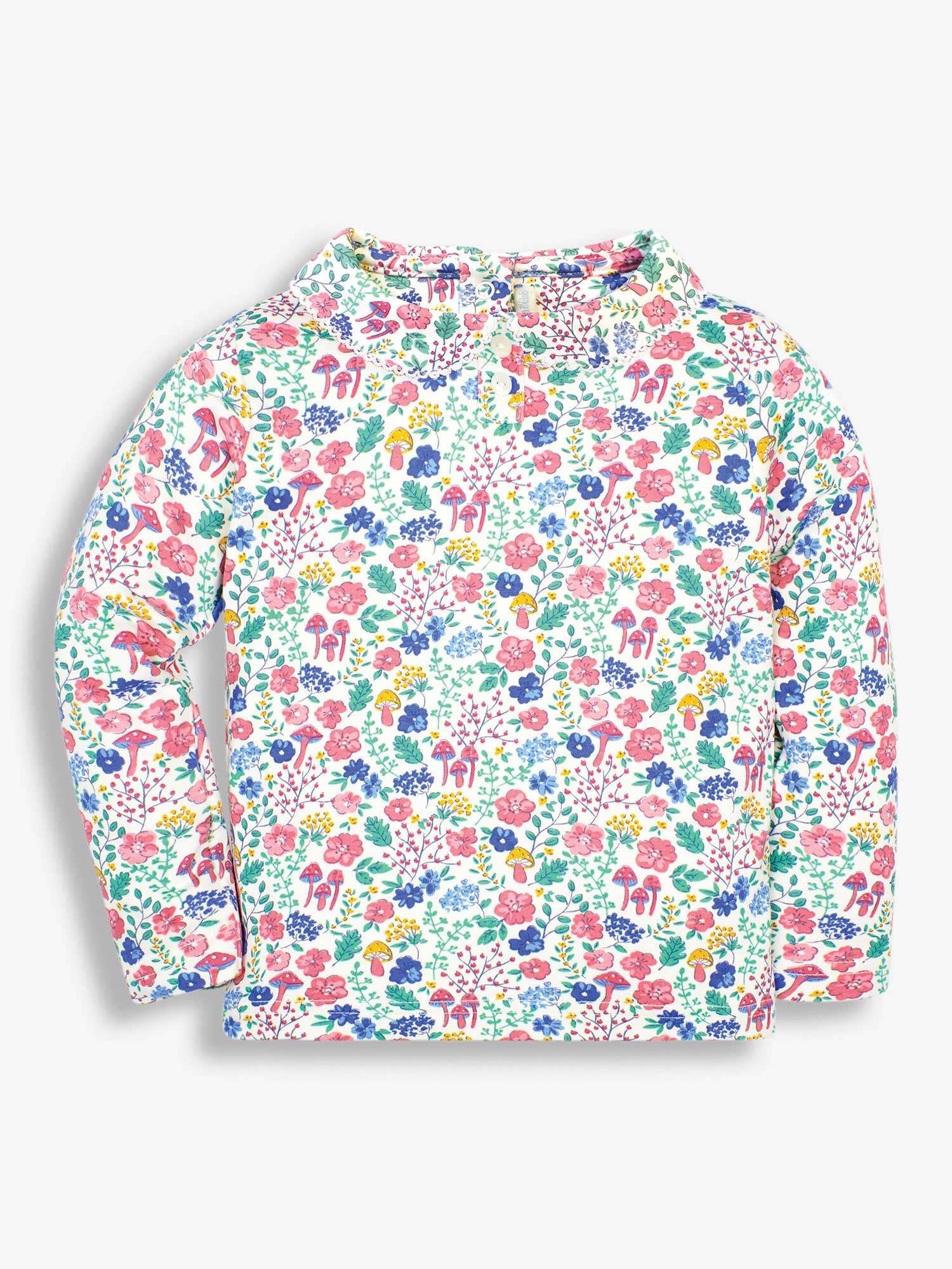 Girls' Cream Floral Forest Peter Pan Top