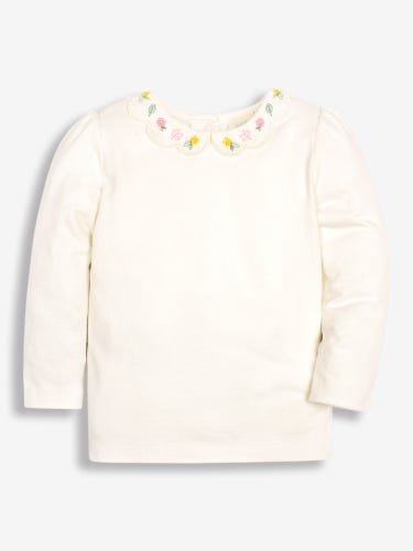 Girls' Cream Flower Embroidered Scallop Collar Top