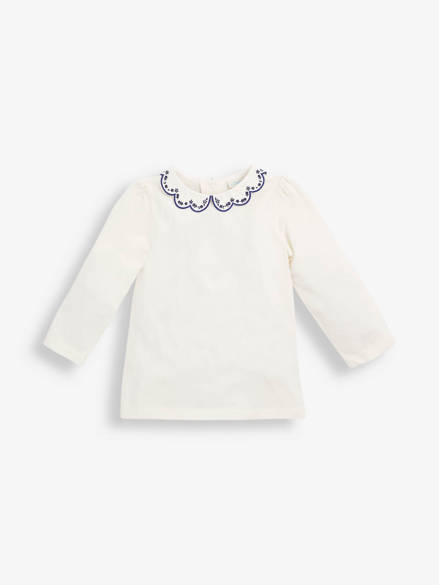 Girls' Cream Embroidered Collar Top