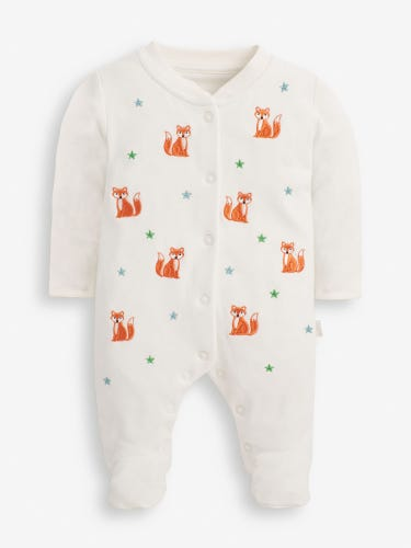 Fox Embroidered Baby Sleepsuit