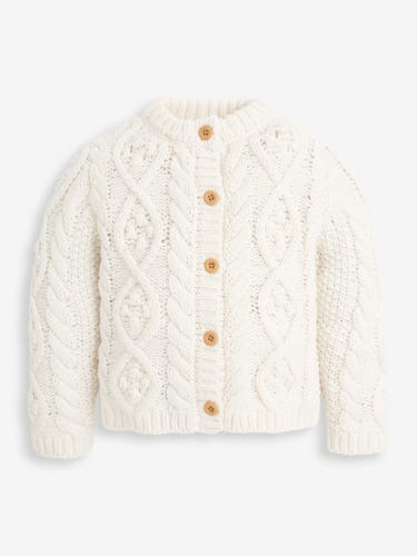 Cream Cosy Cable Knit Cardigan
