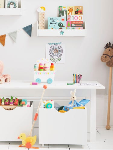White Play Table with Storage Boxes
