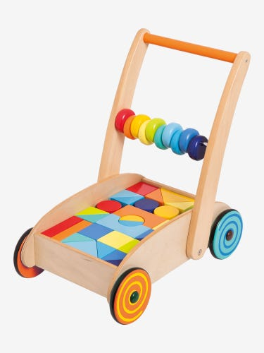 Baby Walker with Bright Wooden Blocks