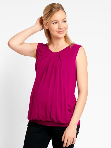 Sleeveless Pleated Maternity & Nursing Top