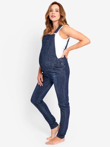 Mid Wash Maternity Dungarees